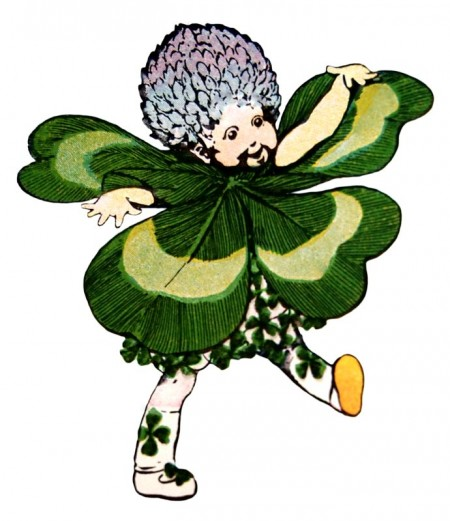Vintage St. Patrick's Day Clover Leprechaun - Click for printable picture