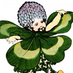 Whimsical Vintage Four Leaf Clover Illustration for St. Patrick's Day