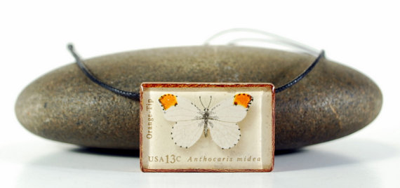WoodBee Design Butterfly Vintage Postage Stamp Pendant Necklace
