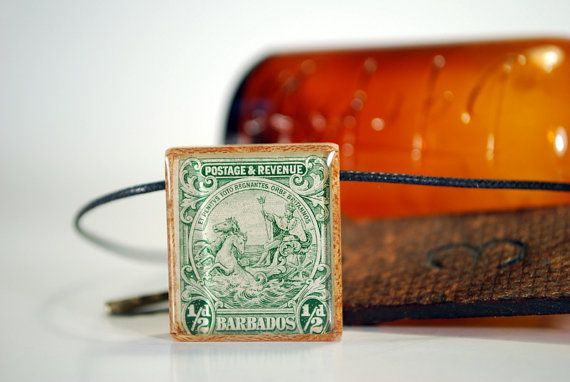 Poseidon Vintage Postage Stamp Necklace by WoodBee Design