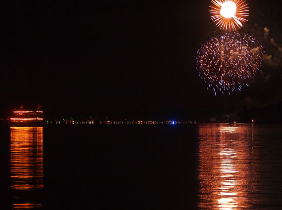In the summer you can take a ferry boat out onto the lake to watch the fireworks.
