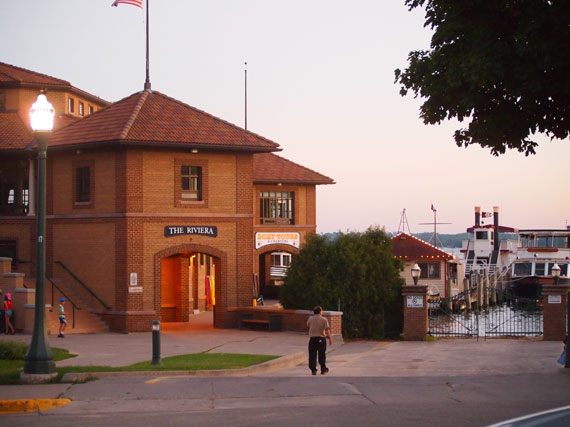 The Riviera Boathouse in downtown Lake Geneva - where you can take boat tours, launch your own boat, or even take horse and buggy rides.