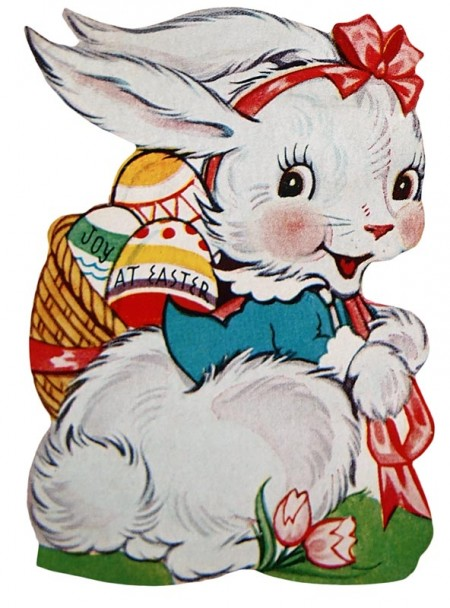 Retro Easter Bunny with a Basket of Eggs - Click for printable artwork