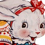 Retro Image of the Easter Bunny with a Basket of Eggs