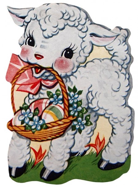 Retro Easter Lamb Clip Art - Click for printable picture