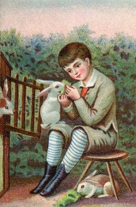 Victorian Boy with Easter Bunnies
