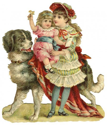 Picture of Victorian Children with Their Pet Dog - Click for printable image