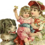 Vintage Children with a Beautiful Landseer Dog