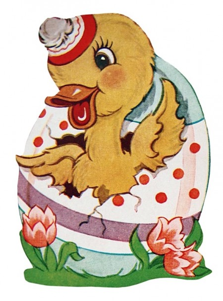 Retro Easter Duck in an Easter Egg - Click for printable clip art picture