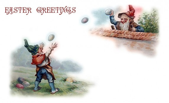 Vintage Easter Greetings Postcard with Elves Playing with Eggs - Click for printable picture