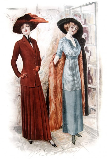 Pretty Vintage Fashion Plate - Red & Aqua Dresses