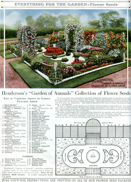 Vintage Heirloom Flower Garden Plan from 1917 - Click for larger printable page