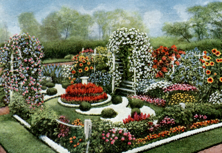 Vintage annual flower formal garden plan vintage fangirl for Flower garden layout