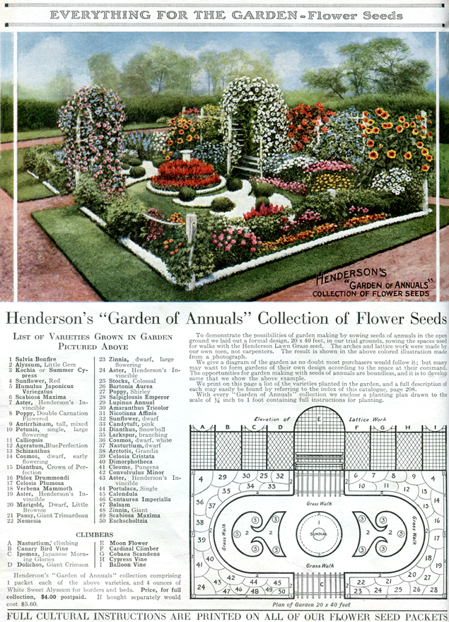 Vintage heirloom flower garden plan from 1917 click for for Plans for a flower garden layout