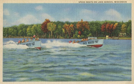 Vintage Boat Race Postcard from Lake Geneva, WI - Click for printable scanned image