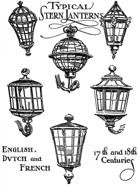 Antique Nautical Boat Lanterns - Click for larger print image