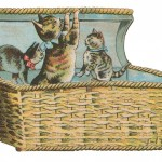 Cute Kittens Playing in a Basket Vintage Clip Art