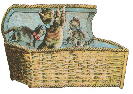 Cute Vintage Kittens Clip Art - Click for printable picture
