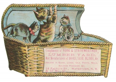 Cute Vintage Kittens Clip Art with Trade Card Ad - Click for printable picture
