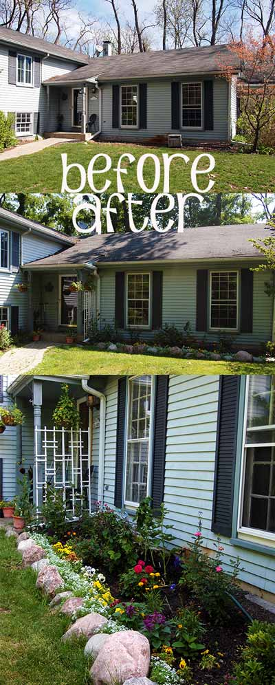 Before and After - Landscaping and Flower Bed in Front of the House