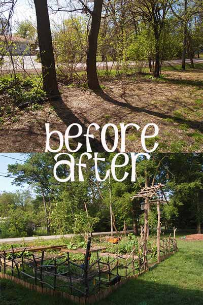 Before and After Planting Beds and Veggie Garden