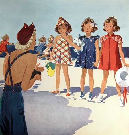 Retro Summer on the Beach 1937 Magazine Illustration - Click for printable artwork
