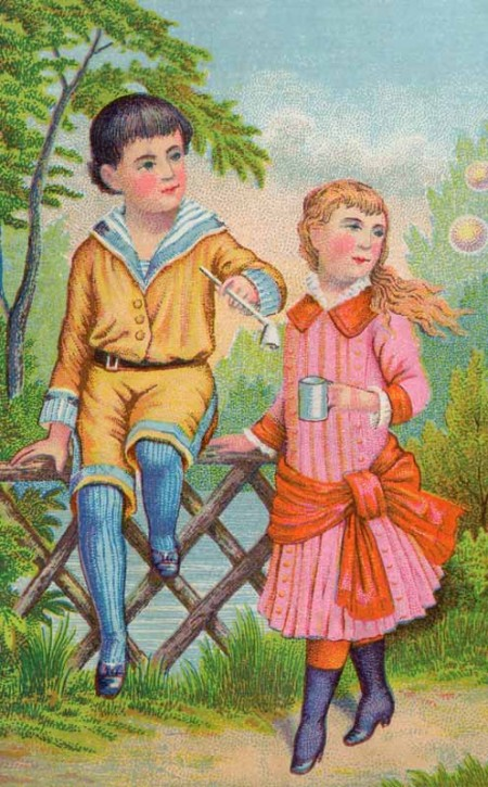 Victorian Children Blowing Bubbles Art - Click for larger drawing to print