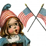 Super Cute Patriotic Girl from an Early 1900's Vintage Postcard
