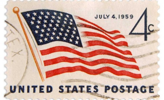 Vintage 4th of July 1959 Postage Stamp - Click for printable image
