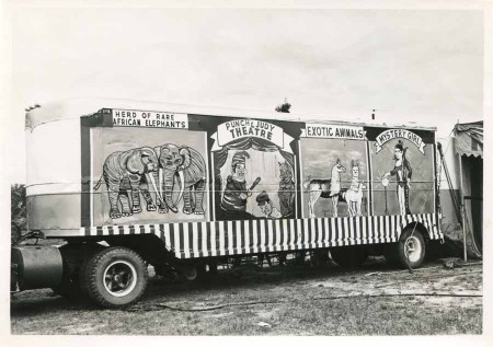 Vintage Circus Sideshow Traveling Bus Photograph - Click for larger printable image