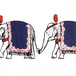 Vintage Circus Clip Art Banner of a Line of Elephants