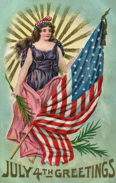 Vintage July 4th Greetings Postcard from the Early 1900's - Click for larger printable art