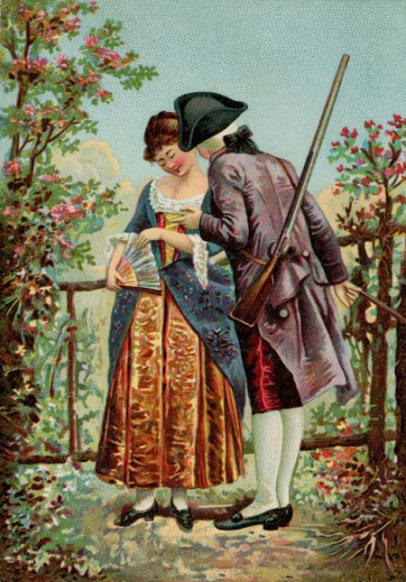 Antique Trade Card with a Couple from the Revolutionary War - Click for instant art printable