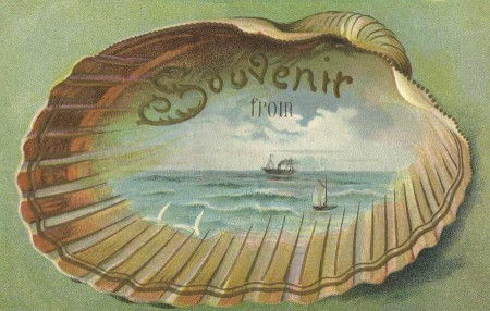 Pretty Edwardian Era Beach Souvenir Travel Postcard - Click for larger printable artwork