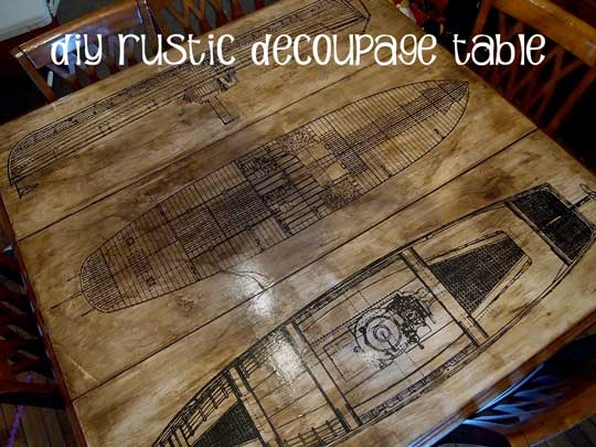 How to: Aged Paper Decoupage DIY Table Top Refinish