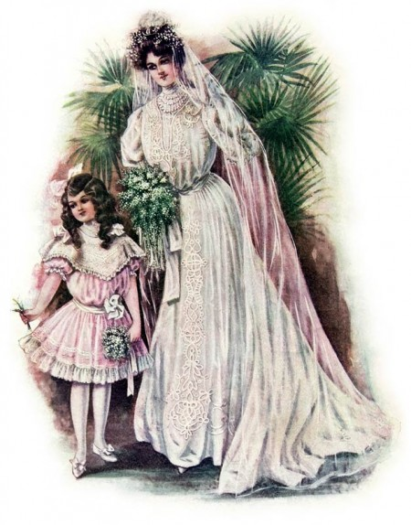 Early 1900's Wedding Dress with Flower Girl - click for larger instant art printable