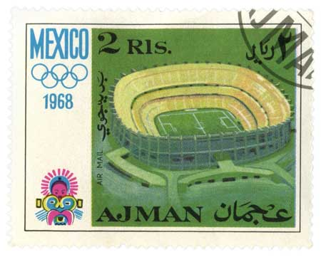 1968 Mexico Olympics Postage Stamp from the United Arab Emirates- Click for printable art