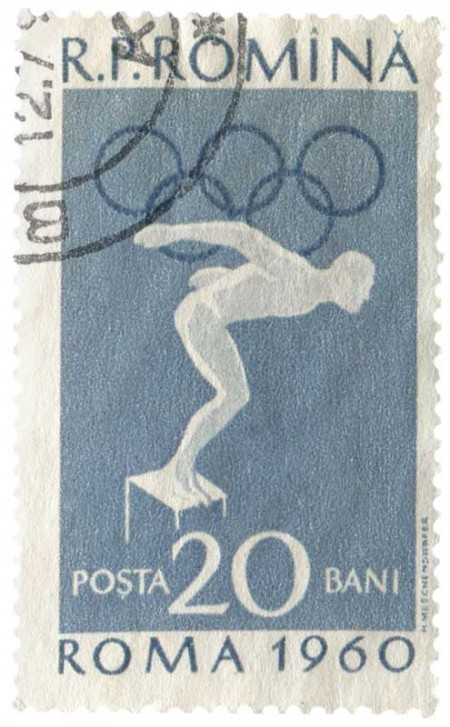 1960 Rome Olympics Postage Stamp from Communist Romania - Click for printable art