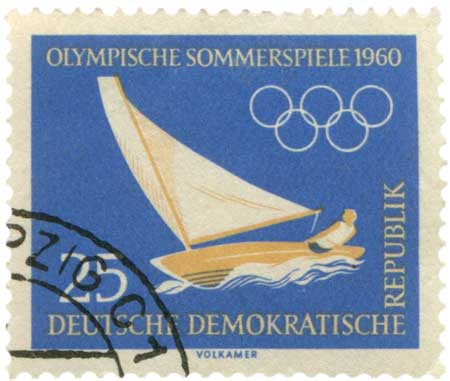 1960 Rome Olympics Sailing Postage Stamp from East Germany- Click for printable art