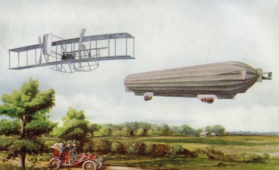 Vintage Flying Zeppelin and Airplane Illustration - Click for larger printable image