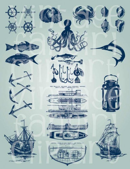 Vintage Fangirl Nautical Vector Clip Art Collection