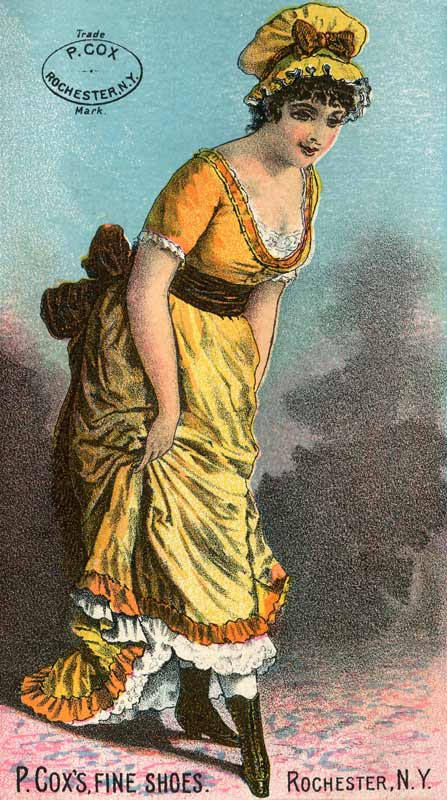 Late 1800's Trade Card with a Woman in a Yellow Dress - Click for larger printable art