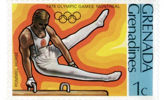 Olympics Men&#039;s Gymnastics Commemorative Stamp from the 1976 Montreal Games - Click for larger print image