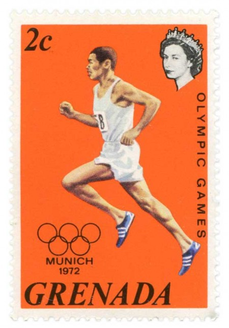 Olympics Athletics Postage Stamp Munich 1972 - Click for larger print image