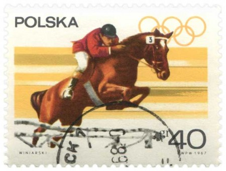 Polish Olympic Collector's Stamp Equestrian Event - Click for larger image to print