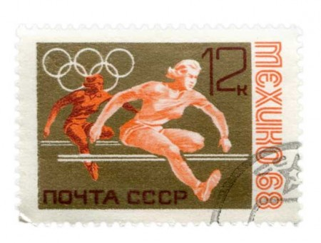 1968 Soviet Union Olympics Track and Field Stamp Art - Click for larger image to print