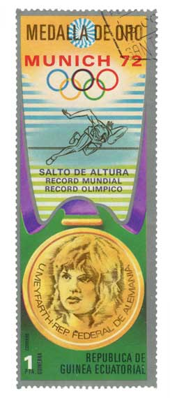 Vintage Olympics High Jump Collector Postage Stamp Art