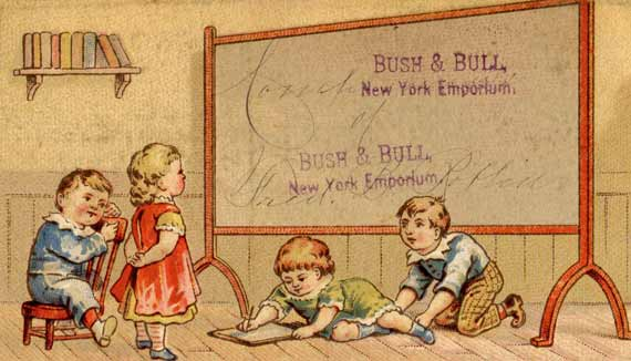 Vintage Back to School Late 1800's Advertising Trade Card - Click for larger art to print