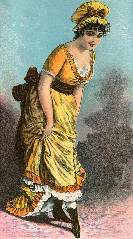 Late 1800's Woman in a Yellow Low Cut Dress - Click for larger printable art