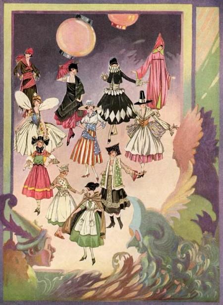 Beautiful 1920's Vintage Halloween Costume Illustrations